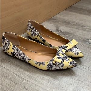 Jcrew yellow floral flats